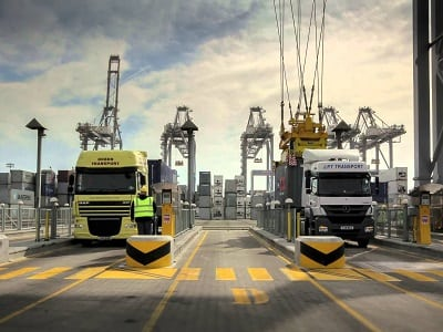 Lorries at the port