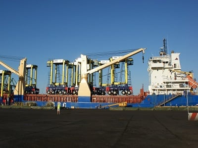 Straddle carriers at the Port of Tilbury