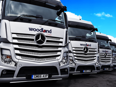 Front view of Woodland lorries
