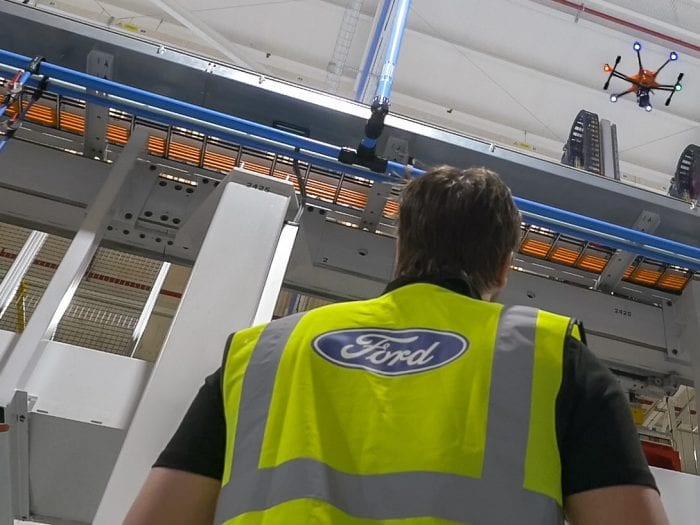Ford factory worker using drone