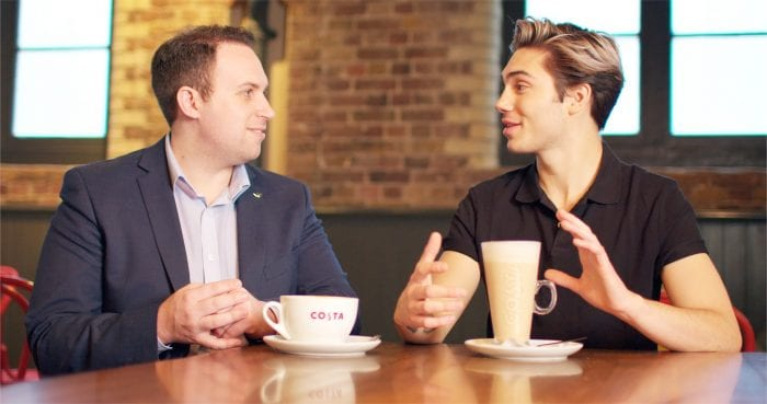 Costa business meeting over coffee