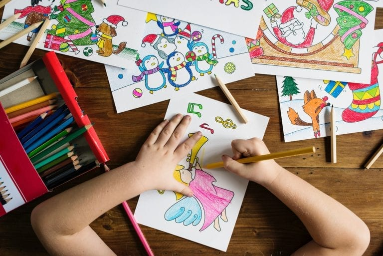 child drawing pictures