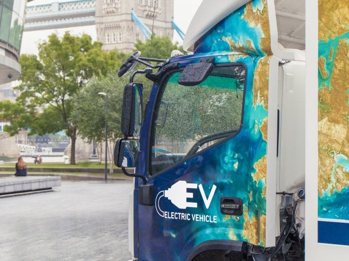 Tevva electric truck with Tower Bridge in background