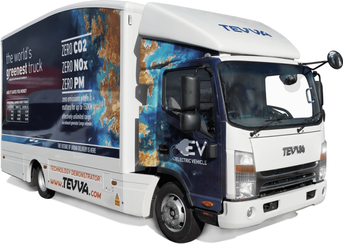 Tevva electric truck with white background